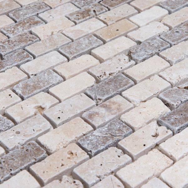 "Mosaik aus Travertin ""2,5x5,0 Tuscany Mix"" Ciottolo"