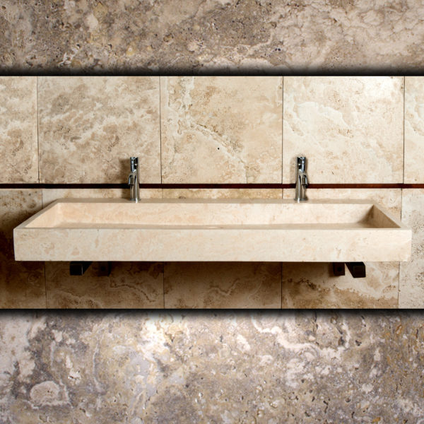 "Wall travertine washbasin ""Breve 2Rub"""