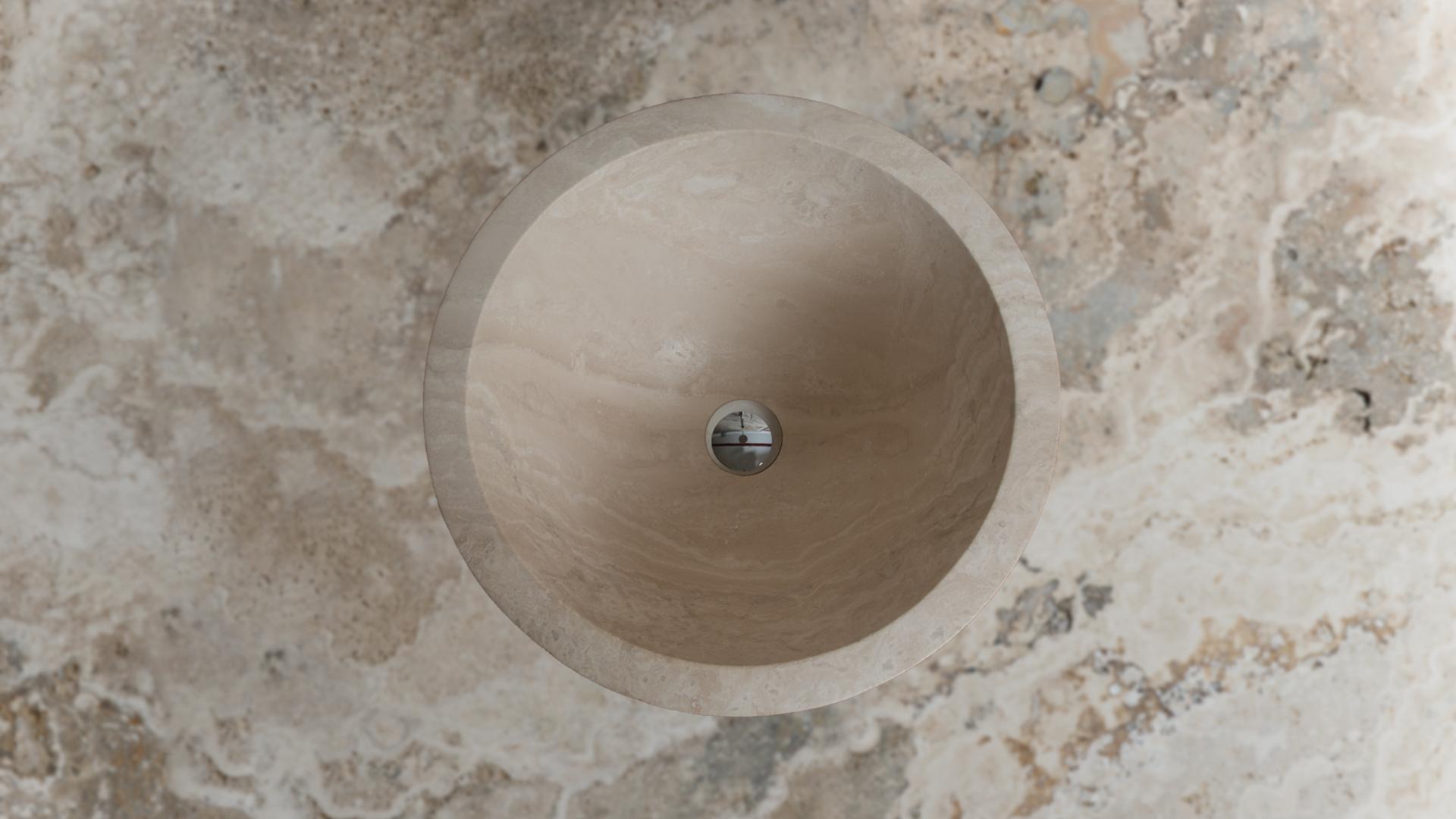 Colonna Arredo Bagno Bari.Lavabo A Colonna In Travertino Cono Ch Pietre Di Rapolano