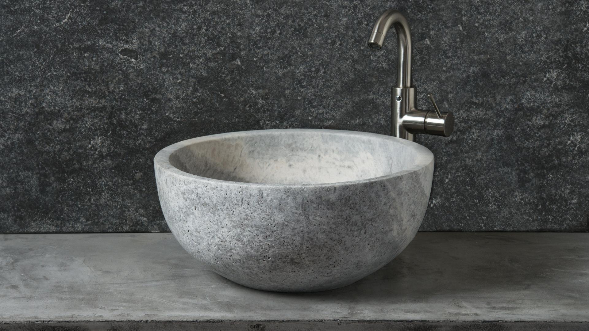 rundes waschbecken aus grauem travertin fiano ice pietre di rapolano. Black Bedroom Furniture Sets. Home Design Ideas