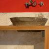 "Wood and travertine bathroom cabinet ""Castellina"""