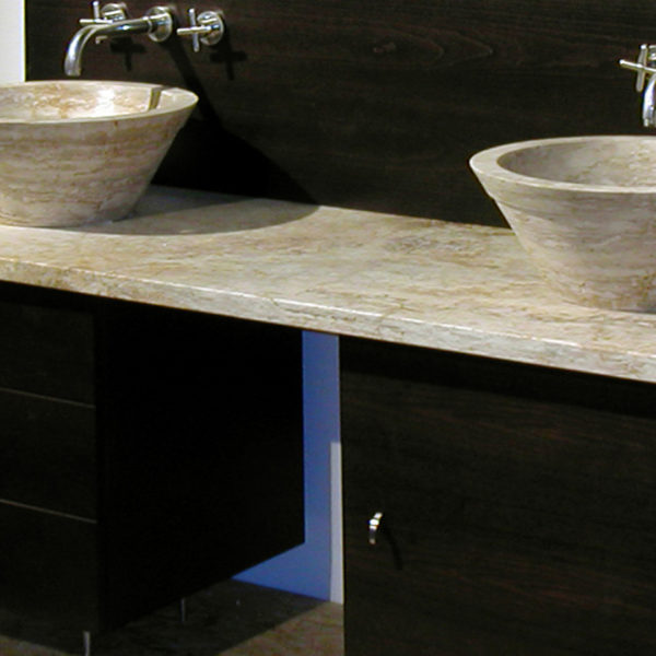 "Wood and travertine bathroom cabinet ""Gaiole"""