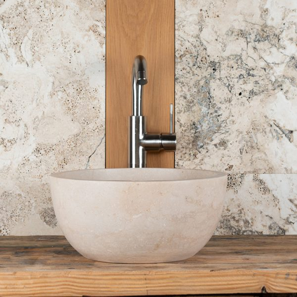 "Small round travertine sink ""Fianino"""
