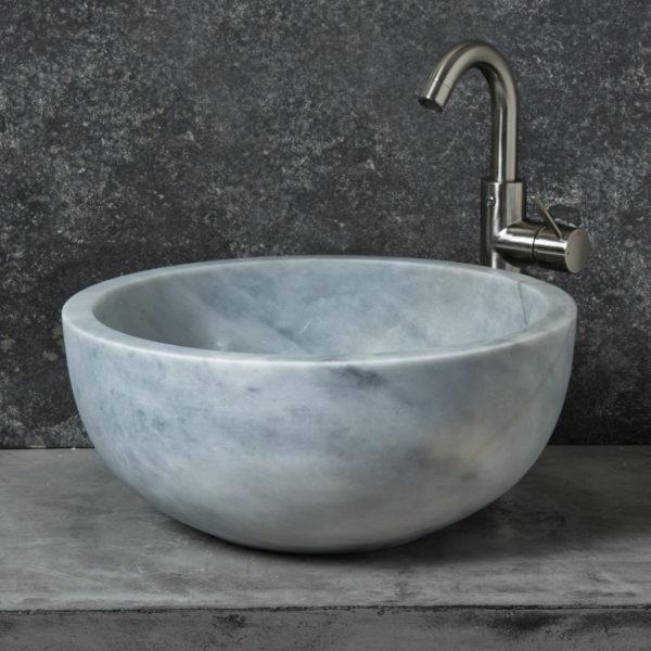 """Lavabo rotondo in marmo """"Fiano Grey"""""""
