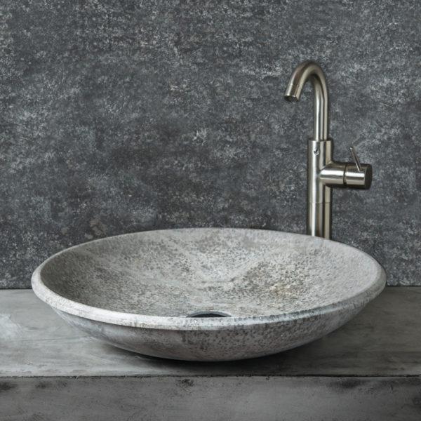 """Lavabo design in travertino grigio """"Fonterutoli Ice"""""""