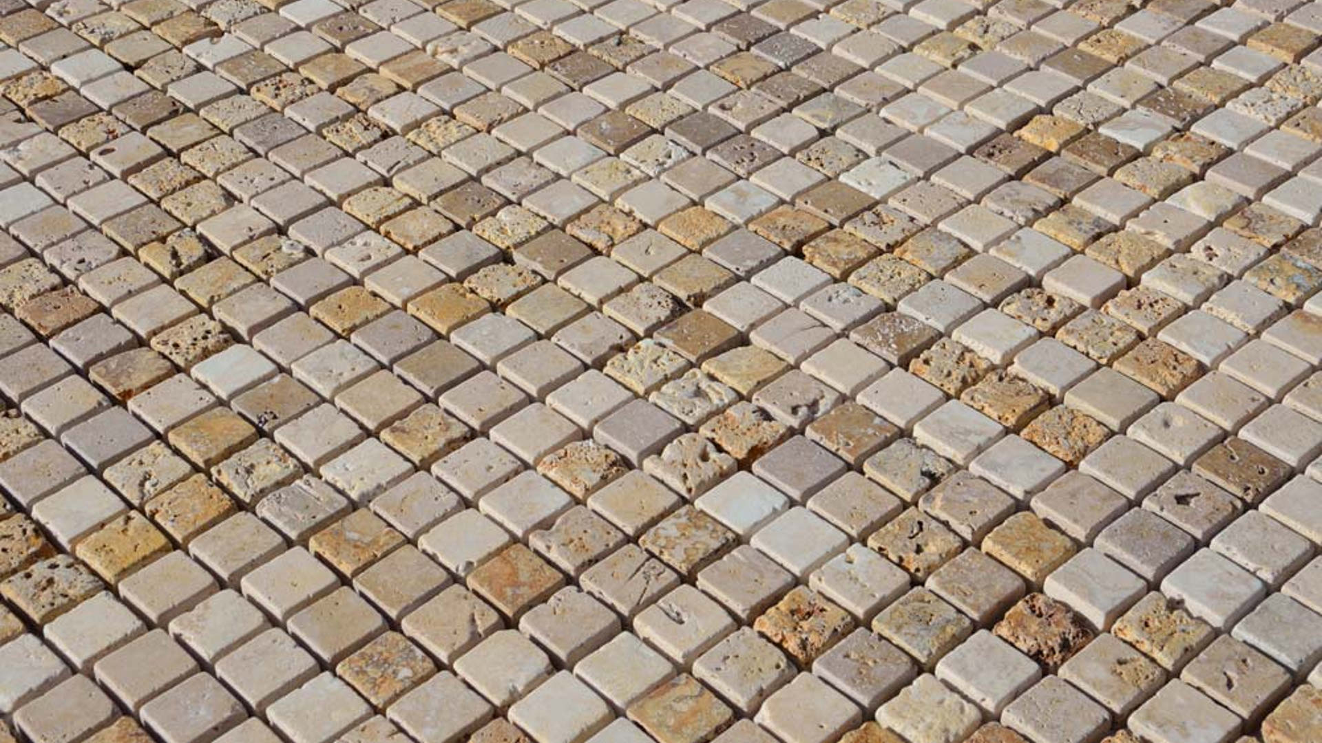 """Piastrelle A Mosaico Per Bagno mosaico in travertino """"2,5×2,5 multicolor"""" rustico"""