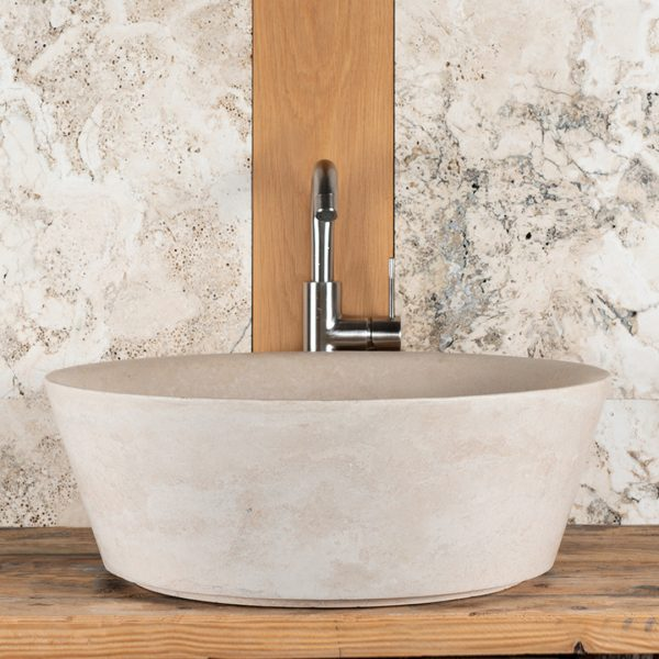 "Lavabo grande tondo in travertino ""Simple"""