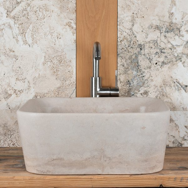 "Lavabo quadrato in travertino ""Square Slim"""