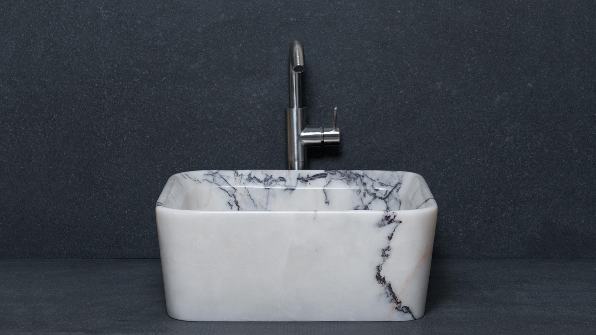 Square Marble Washbasin Square Lilac Pietre Di Rapolano