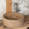 "Lavabo in travertino noce ""Tonda Scura"""