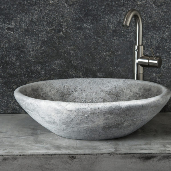 "Lavabo in travertino grigio ""Vaschetta Ice"""