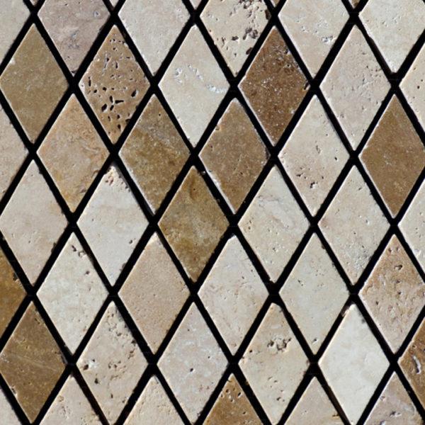 """Travertine mosaic """"Arlecchino Tuscany Mix"""" Polished"""