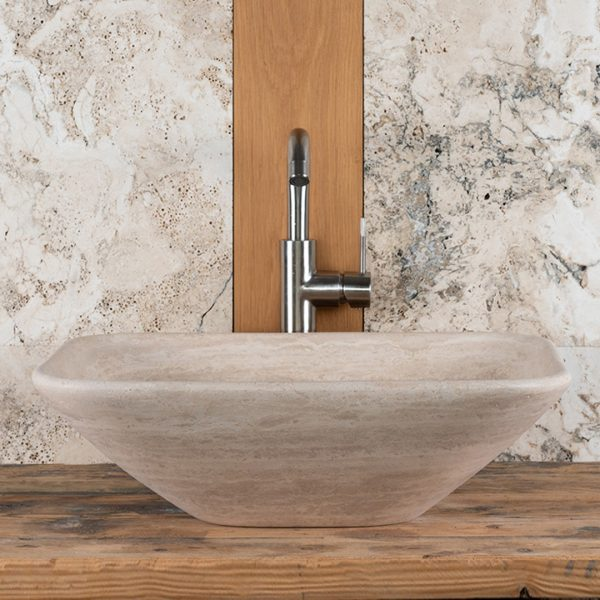 "Thin-edged travertine sink ""Crib Slim"""