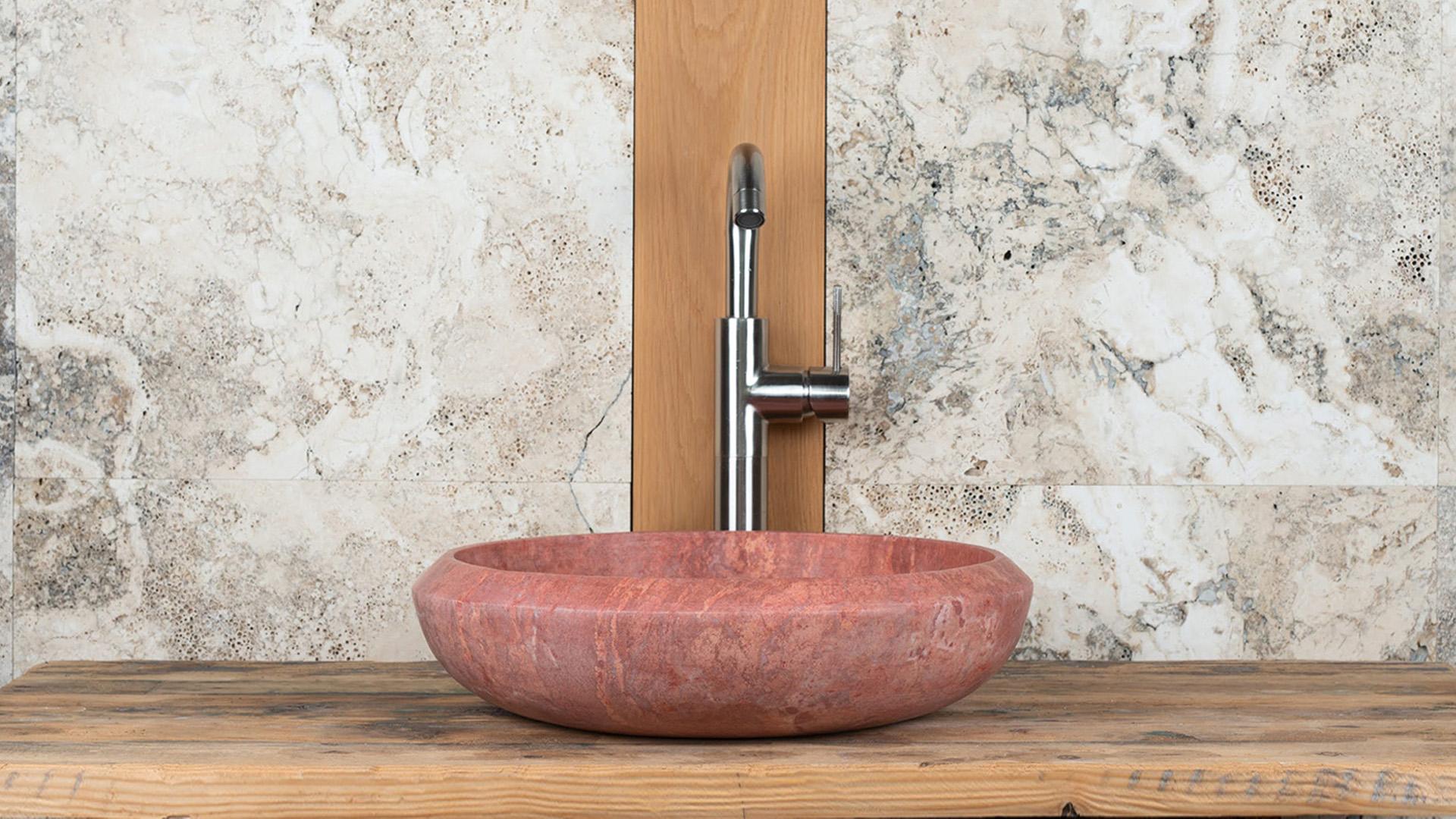 Lavabo piccolo in travertino essential v pietre di - Lavabo piccolo bagno ...