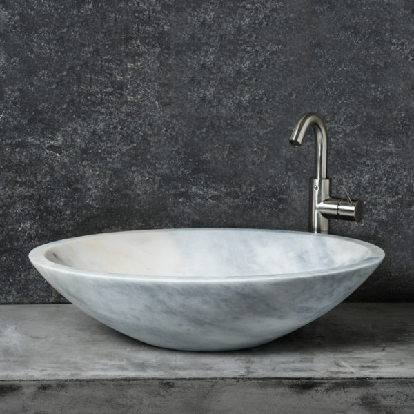 "Lavabo ovale in marmo ""Ovetto Grey"""