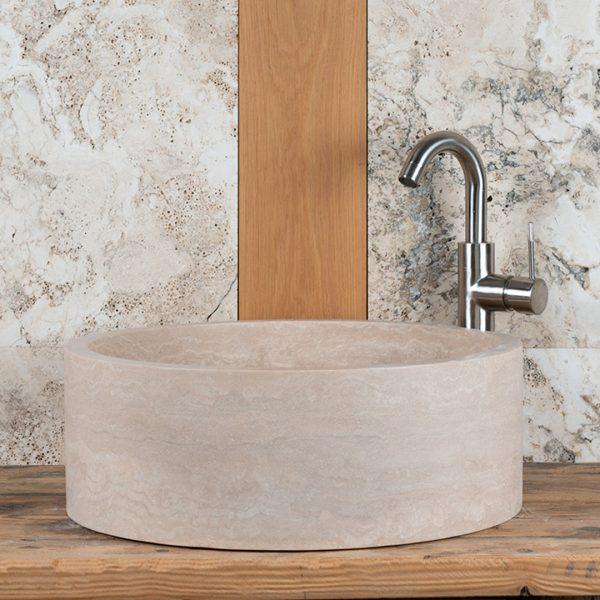 """Round travertine washbasin """"Tonda"""""""