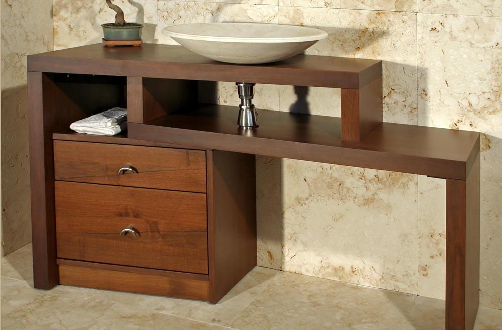 Mobile da bagno in legno e travertino tavarnelle pietre di rapolano - Mobile legno bagno ...