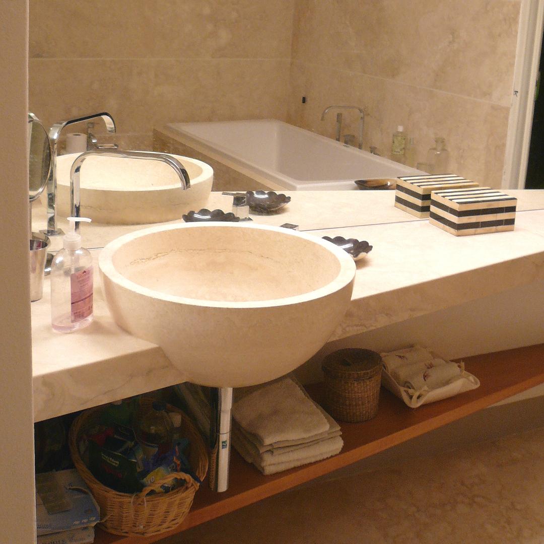 Lavabo bagno in pietra naturale da appoggio in travertino di rapolano - Bagno in pietra naturale ...
