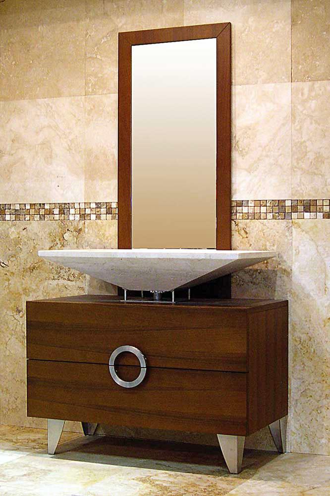 Mobile da bagno moderno in legno wengé e travertino \