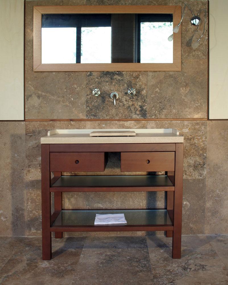 Mobile da bagno piano in legno e travertino pietre di - Mobili per lavabo ...