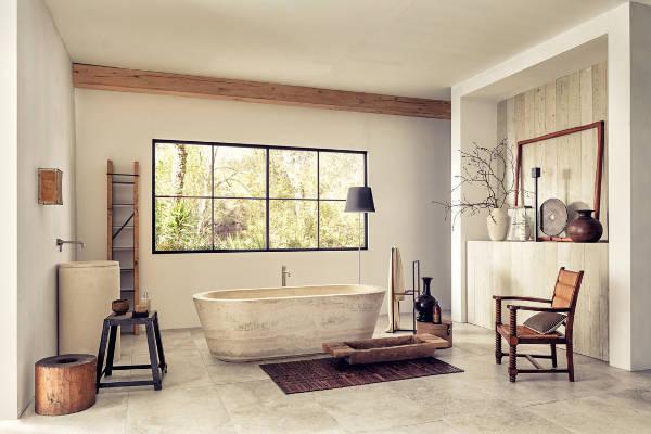 Marie claire maison vasca in pietra di rapolano paris porta leleganza nel tuo bagno