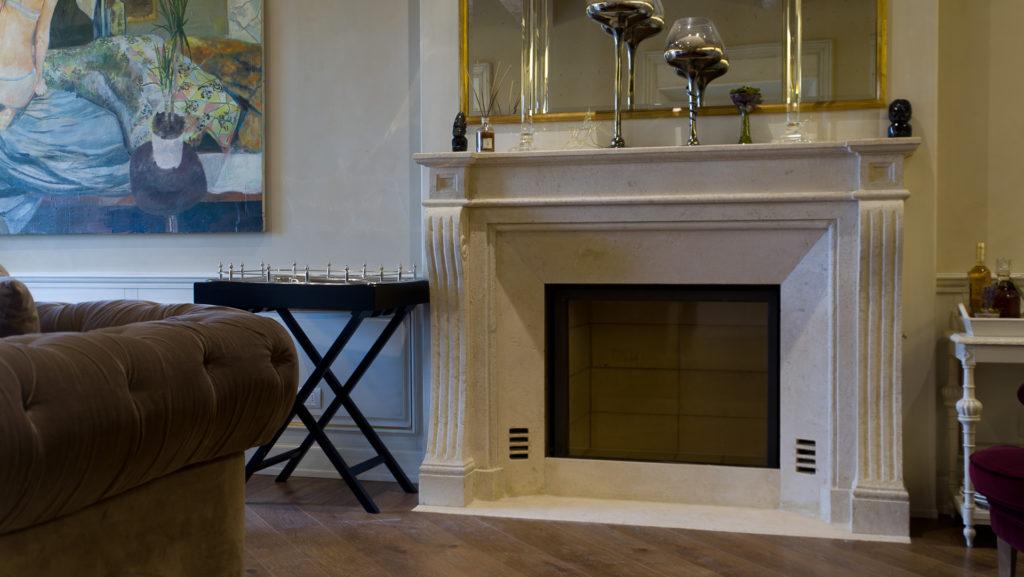 A sculptural fireplace