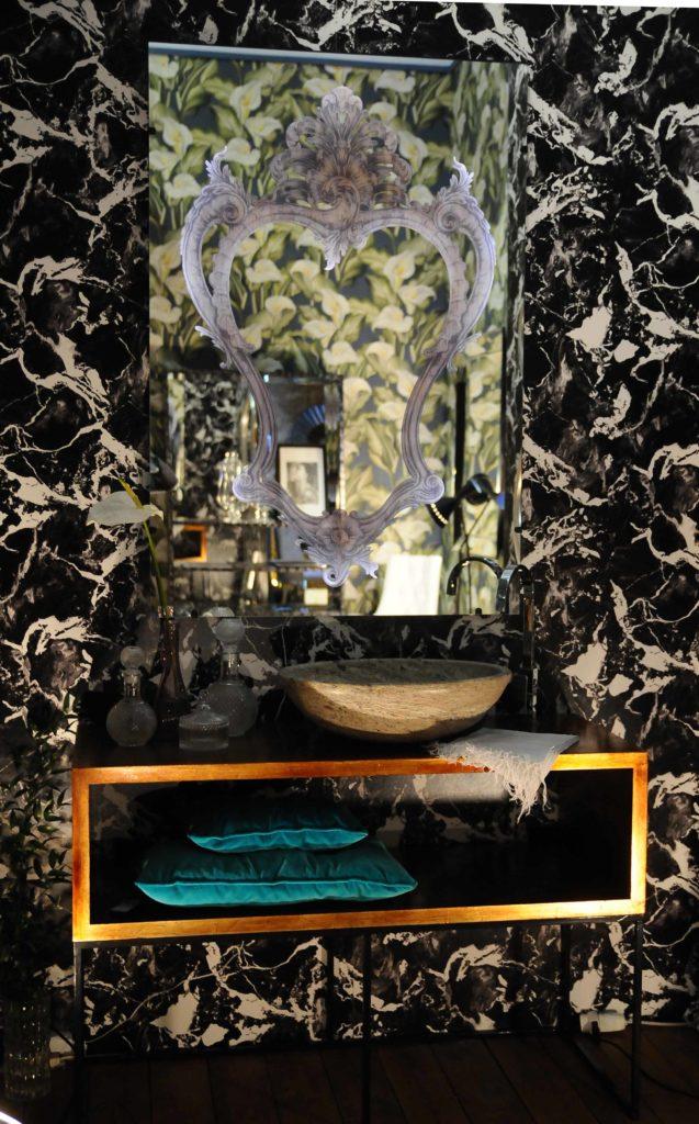 lavabo ovale scuro travertino pietre di rapolano salone del mobile