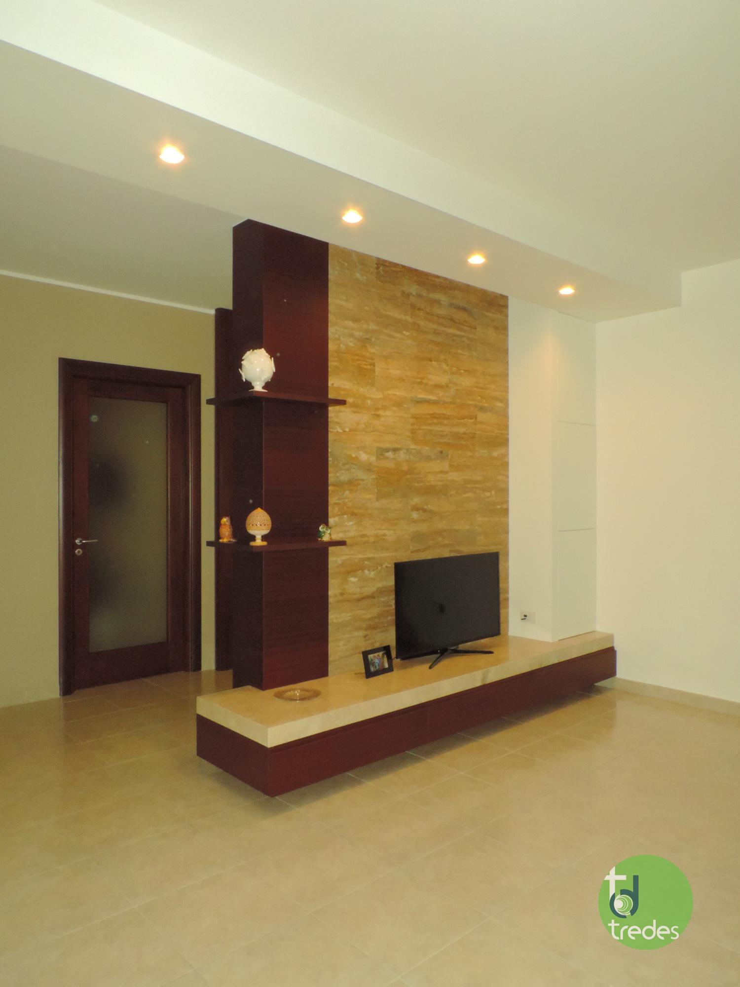 Parete In Pietra Soggiorno soggiorno moderno con rivestimenti in travertino - pietre di
