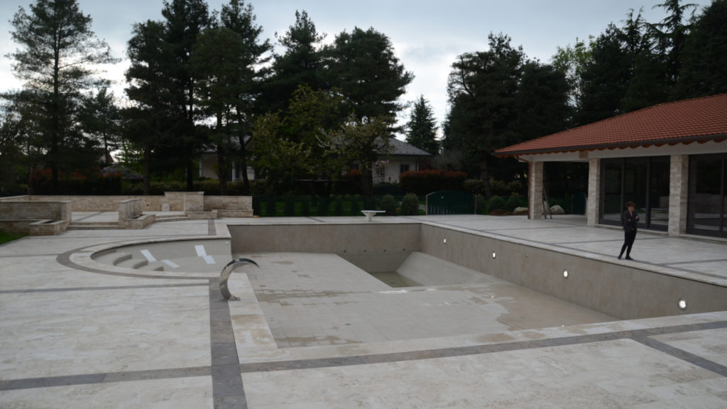 Swimming pool and outdoor in travertine