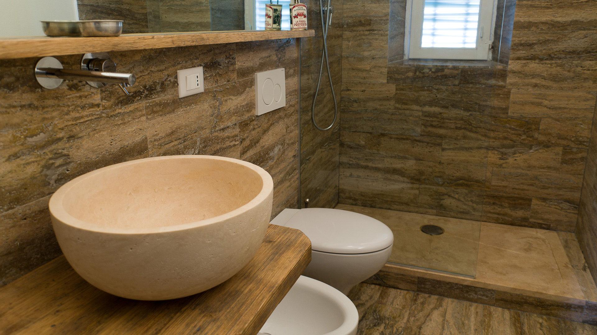 Lavabi bagno travertino pietre di rapolano - Pietre per bagno ...