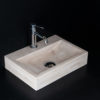"Lavabo piccolo in travertino chiaro ""Back CH"""