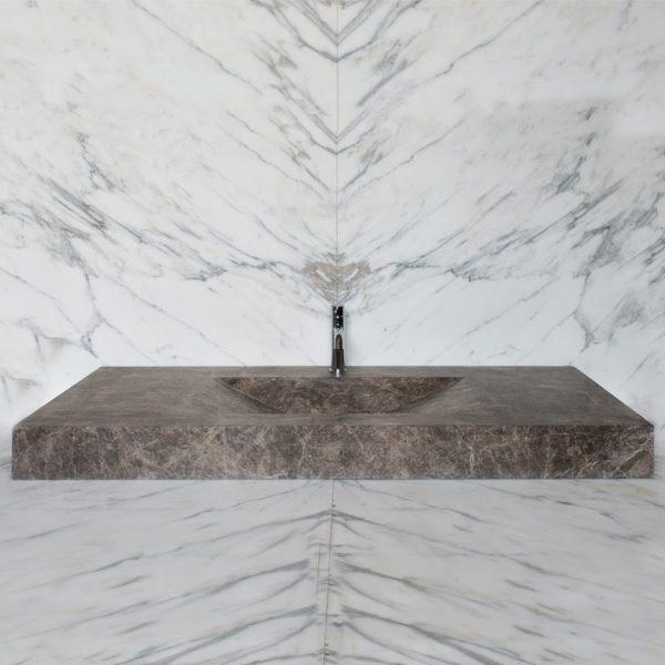 "Lavabo massello in marmo Emperador ""Countertop EM"""