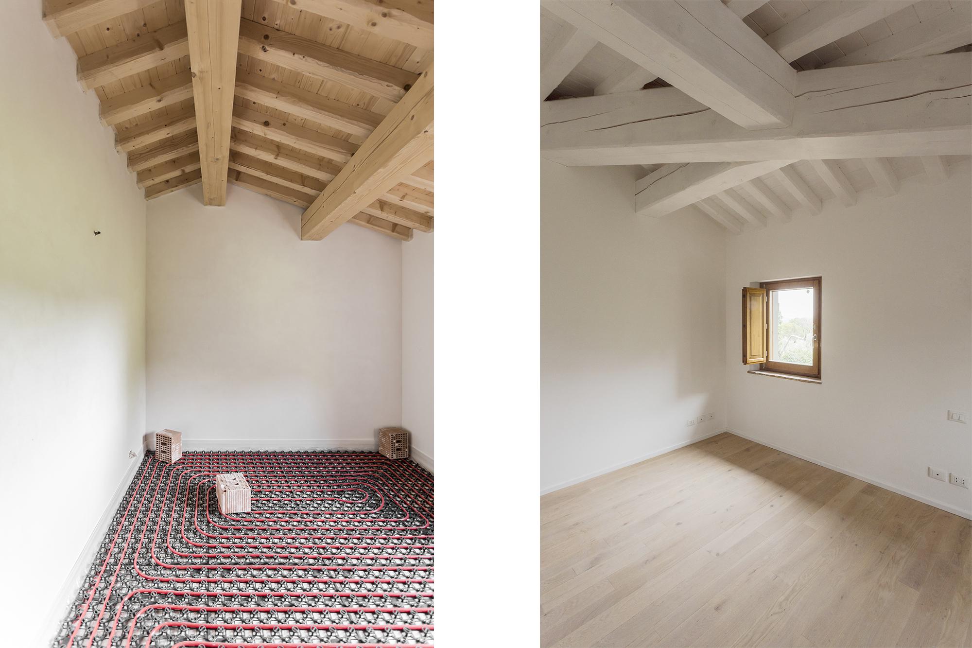 Officina abitare casa colonica piano superiore riscaldamento