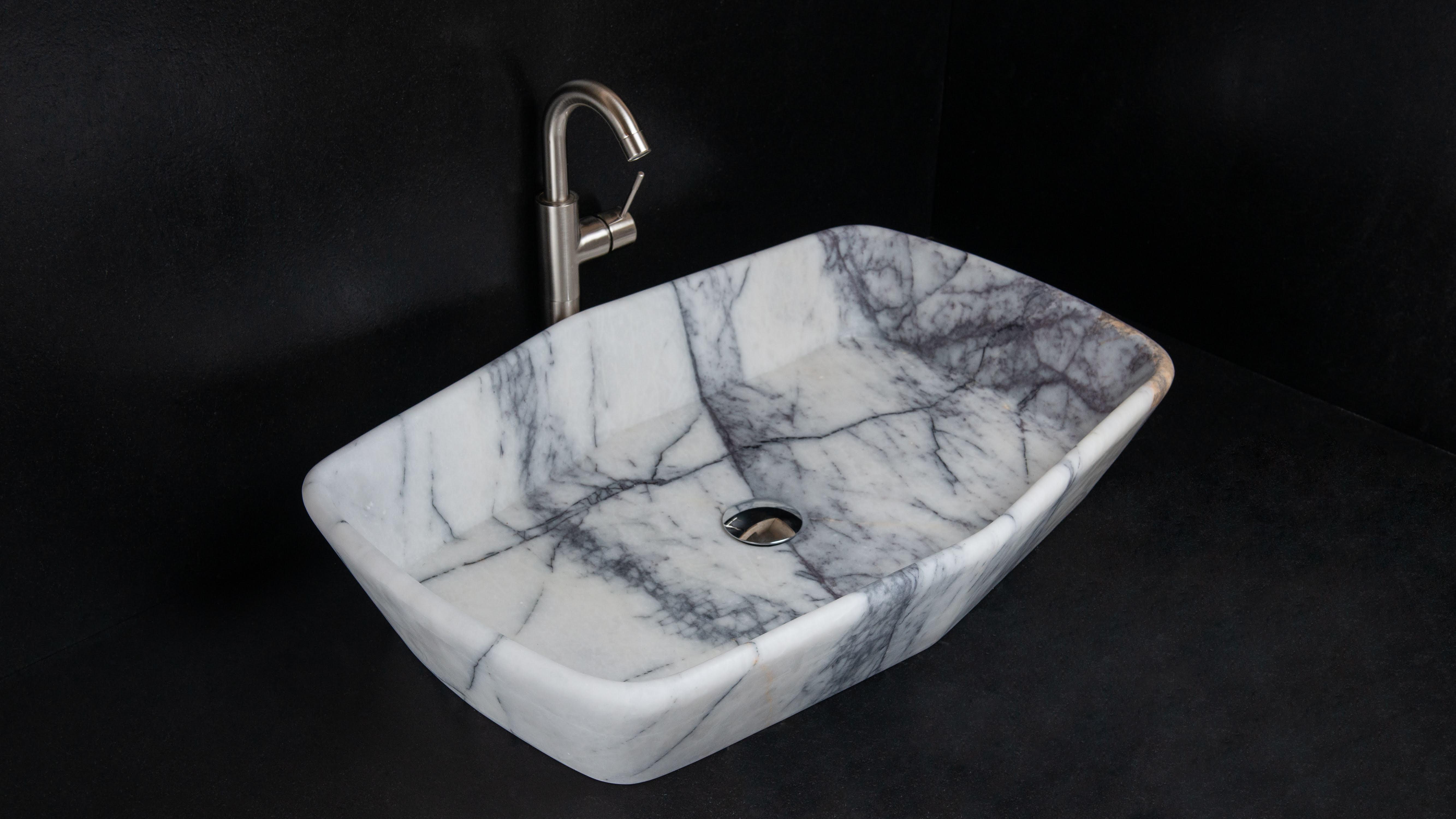 Lavabo Rettangolare In Marmo Vassoio Lilac Pietre Di Rapolano