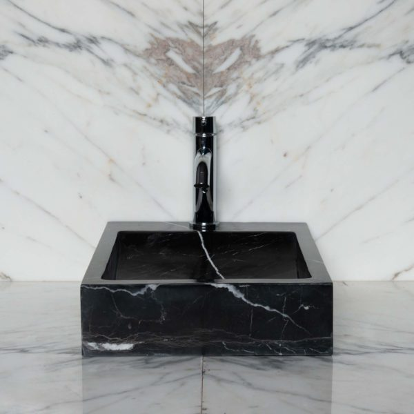 "Lavabo piccolo in marmo nero ""Side Black"""