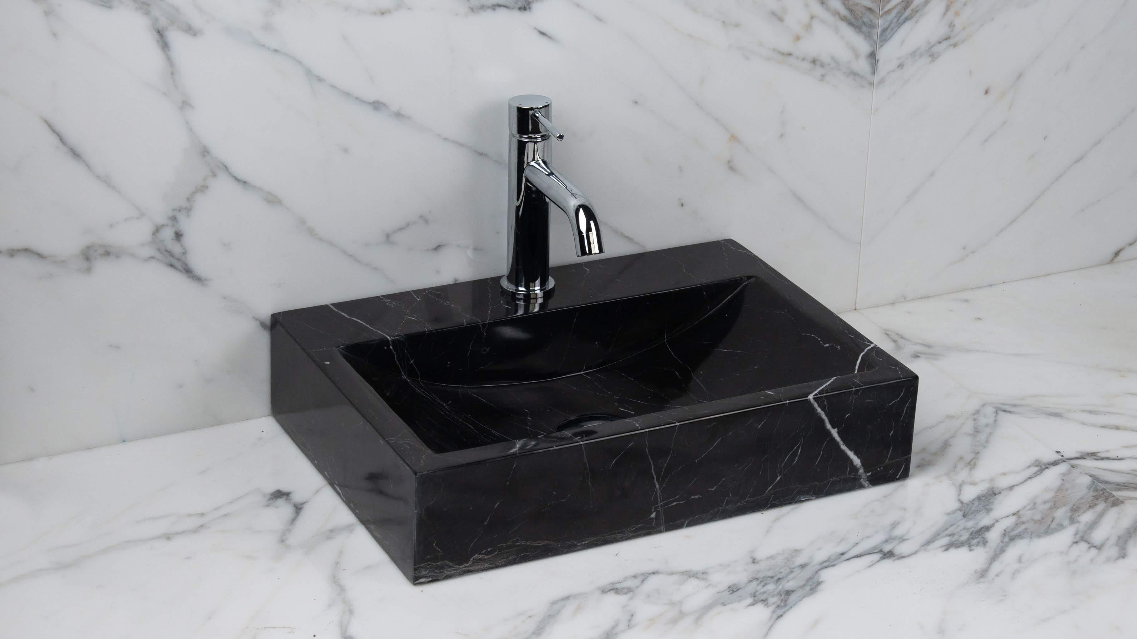"""Lavabo Bagno Piccolo Misure lavabo piccolo in marmo nero """"back black"""""""