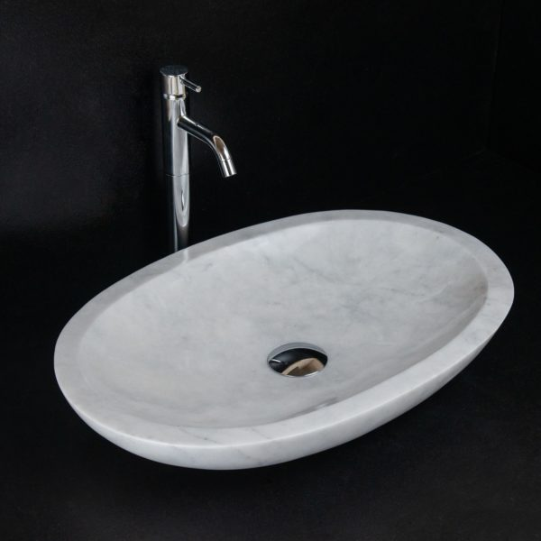 "Lavabo ovale in travertino ""Smooth Carrara T"""