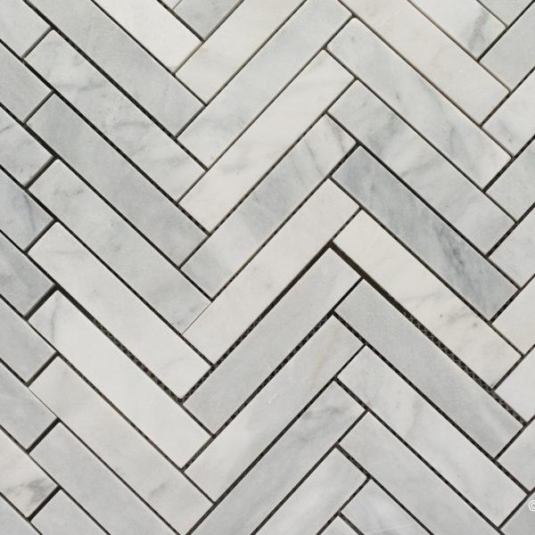 "Mosaico in marmo bianco ""Spina Piccola "" Lucido"