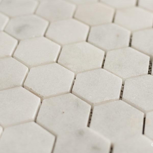 "Mosaik in weißem Marmor  ""Esagono 4.8"" Hochglanz"
