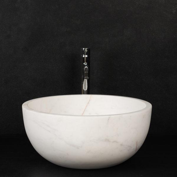 """Lavabo rotondo in marmo """"Fiano Bianco Alba"""""""