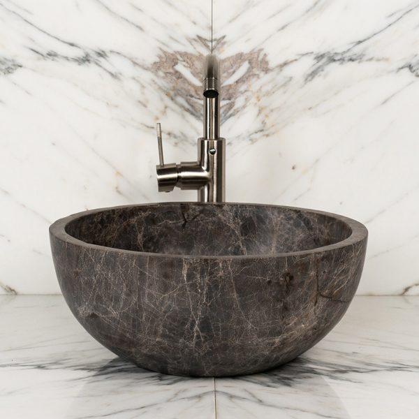 "Lavabo rotondo in marmo ""Fiano Emperador"""