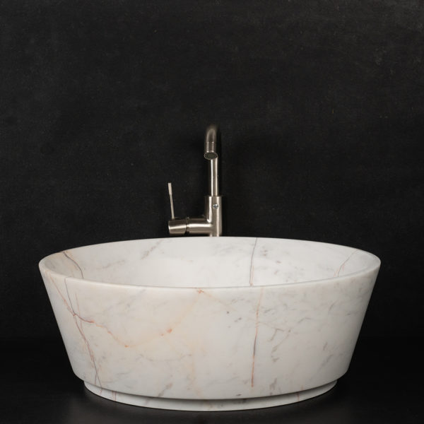 "Lavabo grande tondo in marmo Bianco Alba ""Simple"""