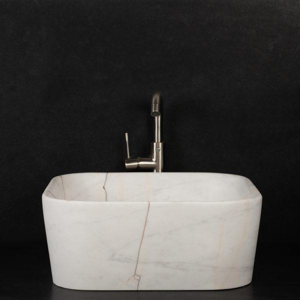 """Lavabo grande quadrato in marmo Bianco Alba """"Square"""""""