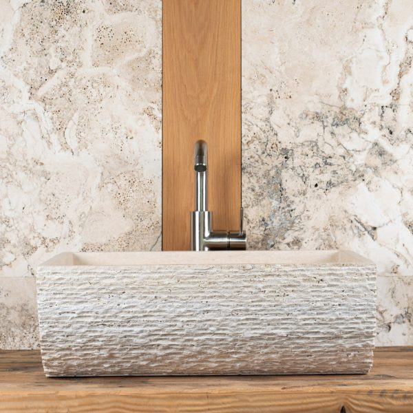 "Designer travertine washbasin ""Mustang"""