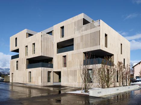 Striped living group asia architecture travertine facade rivestimento travertino