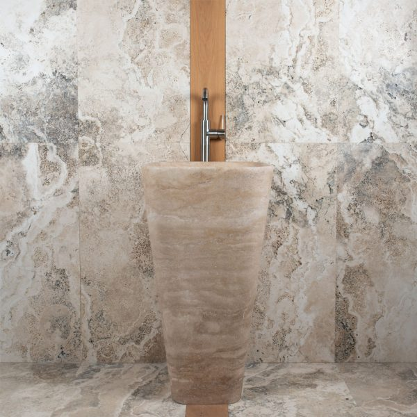 "Freestanding travertine washbasin ""Trapezio"""