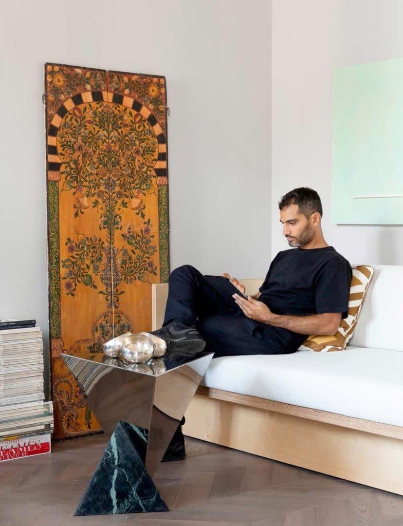Rudy faissal lit studio tavolo in verde vermont acciaio inox insta x