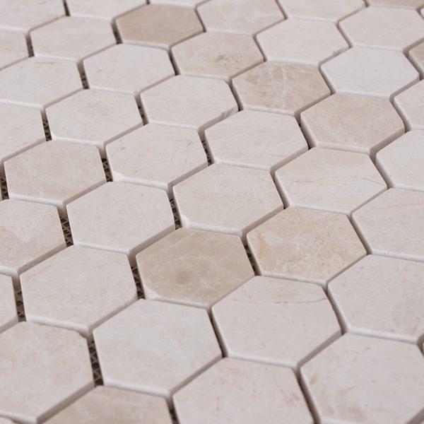 """Mosaico in marmo beige """"Esagono 4.8"""" Levigato"""